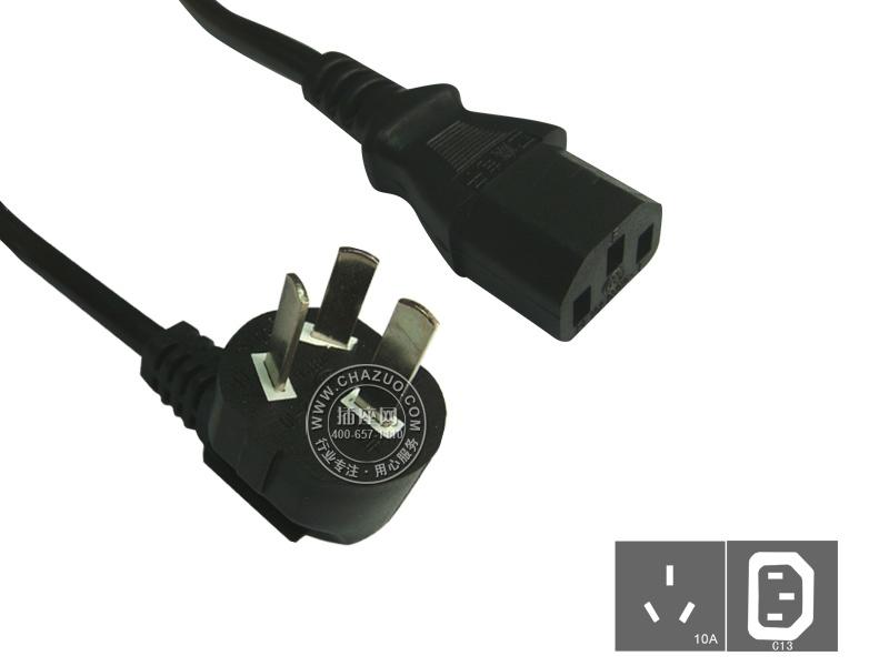 国产(Guochan)服务器PDU专用弯头10A延长线1.8米0.75平方 GB10-C13/1.8m/0.75mm