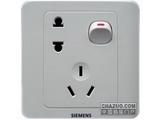 品牌:西门子 Siemens&#10名称:带单控开关10A两极扁圆加三极组合多用插座&#10型号:5UB0102-1CC1