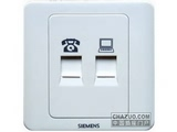 品牌:西门子 Siemens 名称:六类信息插座+电话插座 型号:5TG0103-1CC1