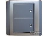 品牌:施耐德奇胜 Clipsal&#10名称:10A 带LED指示横式大按板双联双控开关(灰+银)&#10型号:E3032H2(EBGS)