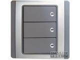 品牌:施耐德奇胜 Clipsal&#10名称:10A 带LED指示横式大按板三联双控开关(灰+银)&#10型号:E3033H2(EBGS)