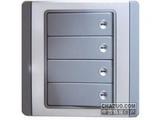品牌:施耐德奇胜 Clipsal&#10名称:10A 带LED指示横式大按板四联单控开关(灰+银)&#10型号:E3034H1(EBGS)