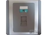 品牌:施耐德奇胜 Clipsal&#10名称:单联四线电话插座(灰+银)&#10型号:E3031RJ(GS)