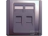 品牌:施耐德奇胜 Clipsal&#10名称:四线电话+八线信息插座(灰+银)&#10型号:E3032TD(GS)