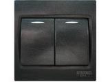 品牌:西门子 Siemens&#10名称:二位单控带荧光中跷板开关&#10型号:5TA0 762-3NC3