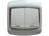 品牌:梅兰日兰 Meilan&#10名称:白色二位单控大跷扳开关&#10型号:L220/1W.AA