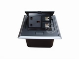 品牌:国产 Guochan 名称:弹起式桌面插座(英标2位网络)  型号:AS-A002C-BK-2