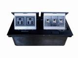 品牌:国产 Guochan 名称:双联弹起式桌面插座(2位美标3位网络)  型号:AS-A003A-BK-4
