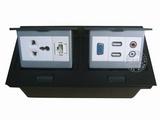 品牌:国产 Guochan&#10名称:双联弹起式桌面插座(三孔网络VGA音频USB) &#10型号:AS-A003A-BK-8