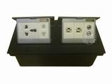 品牌:国产 Guochan&#10名称:双联弹起式桌面插座(五孔2位网络音频) &#10型号:AS-A003A-BK-12