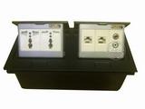 品牌:国产 Guochan&#10名称:双联弹起式桌面插座(2位三孔2位网络音频) &#10型号:AS-A003A-BK-13
