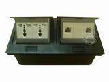 品牌:国产 Guochan&#10名称:双联弹起式桌面插座(2位三孔2位网络) &#10型号:AS-A003A-BK-14