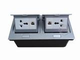 品牌:国产 Guochan&#10名称:双联弹起式桌面插座(2位三孔2位网络) &#10型号:AS-A003A-SL-2