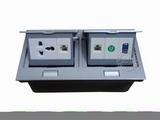 品牌:国产 Guochan&#10名称:双联弹起式桌面插座(三孔2位网络S端子VGA) &#10型号:AS-A003A-SL-3