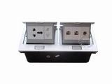品牌:国产 Guochan&#10名称:双联弹起式桌面插座(五孔2位网络音响) &#10型号:AS-A003A-SL-7