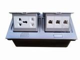 品牌:国产 Guochan&#10名称:双联弹起式桌面插座(五孔3位网络) &#10型号:AS-A003A-SL-8