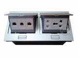 品牌:国产 Guochan&#10名称:双联弹起式桌面插座(五孔2位网络音响) &#10型号:AS-A003A-SL-9