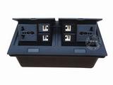 品牌:国产 Guochan&#10名称:双联弹起式桌面插座(2位三孔4位网络) &#10型号:AS-A003C-BK