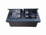 品牌:国产 Guochan&#10名称:双联弹起式桌面插座(2位欧标3位网络USB) &#10型号:AS-A003C-BK-1