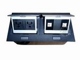 品牌:国产 Guochan&#10名称:双联弹起式桌面插座(2位美标电话网络) &#10型号:AS-A003C-BK-3
