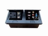 品牌:国产 Guochan&#10名称:双联弹起式桌面插座(英标2位网络USB音视频VGA) &#10型号:AS-A003C-BK-4