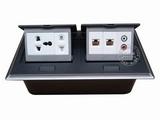 品牌:国产 Guochan 名称:双联弹起式桌面插座(五孔2位网络音频)  型号:AS-A006A-BK