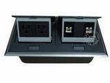 品牌:国产 Guochan 名称:双联弹起式桌面插座(2位美标2位网络)  型号:AS-A006A-BK-1