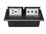 品牌:国产 Guochan 名称:双联弹起式桌面插座(五孔2位网络VGA)  型号:AS-A006A-BK-3