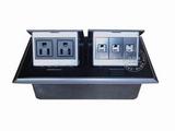 品牌:国产 Guochan 名称:双联弹起式桌面插座(2位美标3位网络)  型号:AS-A006A-BK-4