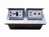 品牌:国产 Guochan 名称:双联弹起式桌面插座(五孔开关2位网络音频)  型号:AS-A006A-SL
