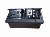 品牌:国产 Guochan 名称:双联弹起式桌面插座(三孔2位网络音频VGA卡农)  型号:AS-A006C-BK-3