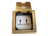 品牌:瑞博 Ruibo&#10名称:二位三孔铜面开启式地面插座&#10型号:RDC-120-4