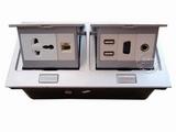 品牌:国产 Guochan 名称:双联弹起式桌面插座(三孔网络USB音响VGA)  型号:AS-A003A-SL-6