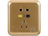 品牌:佳安宝 GAB&#10名称:漏电保护(墙壁)五孔电源插座 金色&#10型号:X-2-10L-10-DA