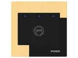 品牌:品上 POSO&#10名称:三位单控LED指示轻点开关&#10型号:AF/33/1Y/L/A
