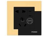 品牌:品上 POSO&#10名称:一位二扁插加连体二三极插座&#10型号:AF/426/10EUSL/A